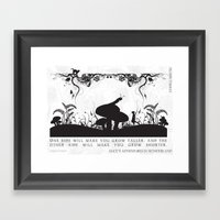 Alice's Adventures In Wonderland Black and White Illustrated Quote Framed Art Print
