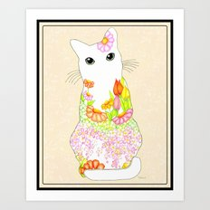 Peachy Garden Kitty with Big Green Eyes Framed- Textured Rosey Blush Background Art Print