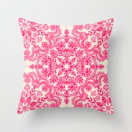 Hot Pink & Soft Cream Fo… Throw Pillow
