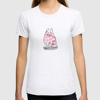 Flower Cat  Womens Fitted Tee Ash Grey SMALL