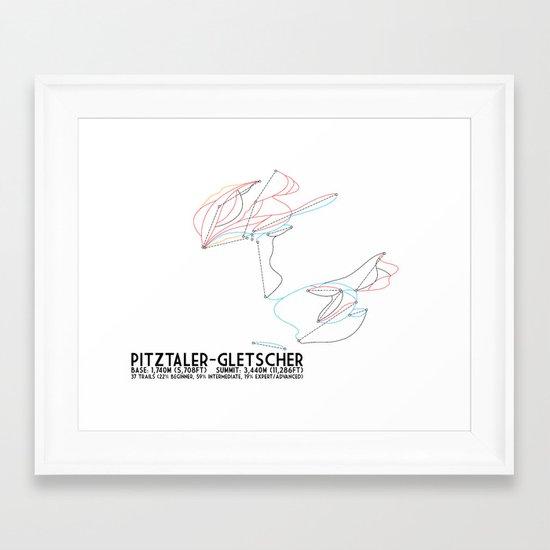 Pitztaler Gletscher, Tirol, Austria - European Colors - Minimalist Trail Art Framed Art Print