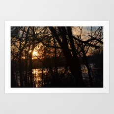 Winter Sun and River Art Print