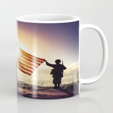 Soldiers Raising An American Flag At SunsetSoldiers Raisng An American Flag At Sunset Mug
