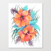 TROPICAL FLOWER {orange … Canvas Print