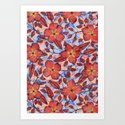 Coral Summer - a hand drawn floral pattern Art Print