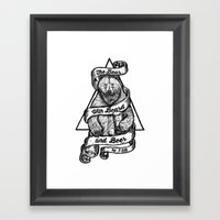 The Bear with Beard and Beer Framed Art Print