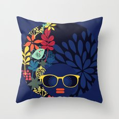 Afro Diva : Sophisticated Lady Blue Throw Pillow