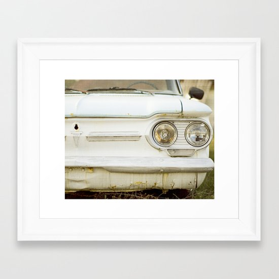 Vintage Rustic Car Light Blue White Framed Art Print