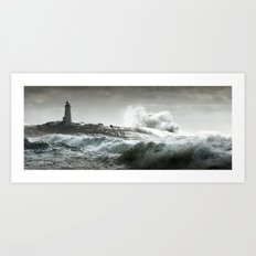 Lighthouse in Storm Art Print