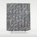 Herringbone Black and Blue #2 Shower Curtain