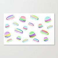 Colorful Hot-Dog and Burger Pattern Canvas Print