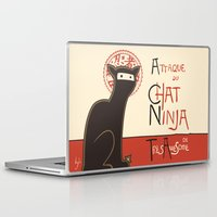 pink Laptop & iPad Skins featuring A French Ninja Cat (Le Chat Ninja) by Kyle Walters