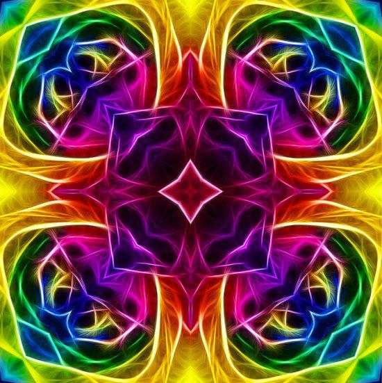 Rainbow Rose Kaleidoscope Mandala Art Print