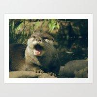 Otter - Yawn Art Print
