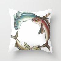 Circle of Fish Throw Pillow