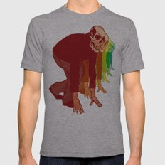 The Racing Rainbow Skulls Mens Fitted Tee Athletic Grey SMALL