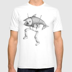 'Evolution I' White Mens Fitted Tee SMALL