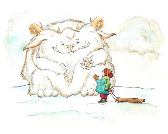 A Friendly Snow Monster Art Print