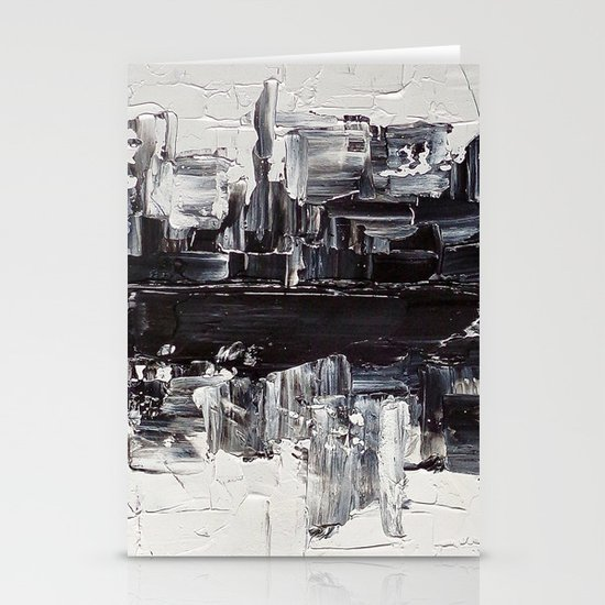 Flatline - black & white abstract painting Stationery Card
