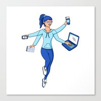 Super Freelance Woman Canvas Print