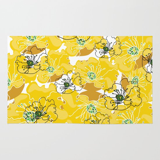 yellow marzipan flowers Area & Throw Rug