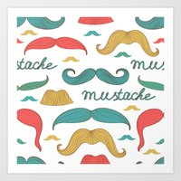 mustache Art Prints featuring Mustache by olillia