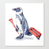 Penguin with a Suitcase and a Vuvuzela  Canvas Print