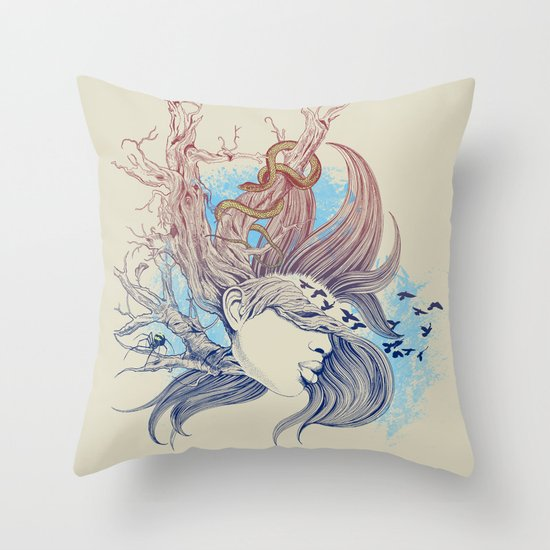 Tree Girl Throw Pillow