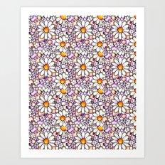 Large Blush Daisies Tiled Art Print