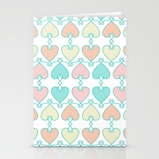 Hearts on the line Stationery Card