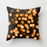 Golden Holiday Bokeh Throw Pillow