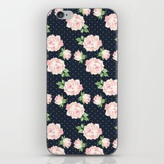 Blue and Pink Vintage Rose Pattern iPhone & iPod Skin