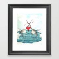 Knitting Narwhals Framed Art Print