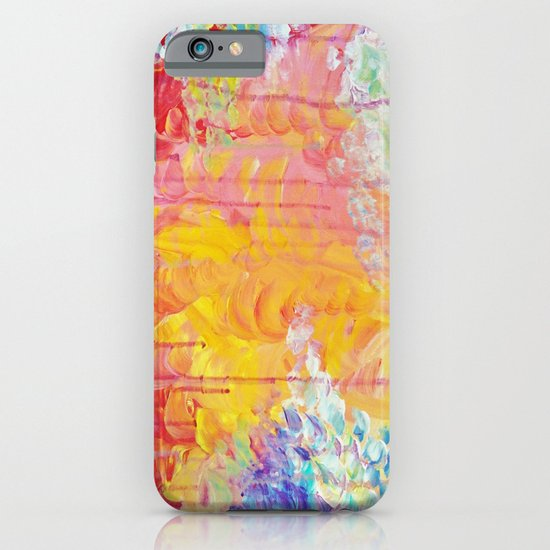 SUN SHOWERS - Beautiful Pastel Coloful Rain Clouds Bright Sky Abstract Acrylic Painting iPhone & iPod Case