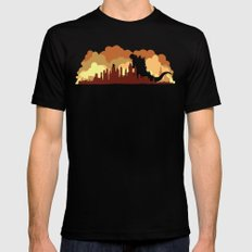 Godzilla versus King Kong cityscape Mens Fitted Tee SMALL Black