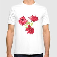 Three Red Roses Mens Fitted Tee White SMALL