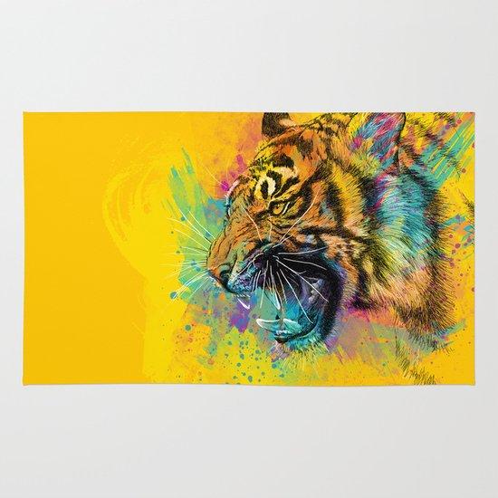 Angry Tiger Area & Throw Rug