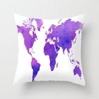 Purple Map Throw Pillow