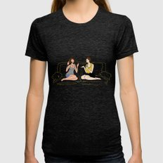 girl talk Womens Fitted Tee Tri-Black SMALL