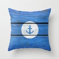 Nautical White Anchor On… Throw Pillow
