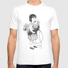 Rooster Girl White SMALL Mens Fitted Tee