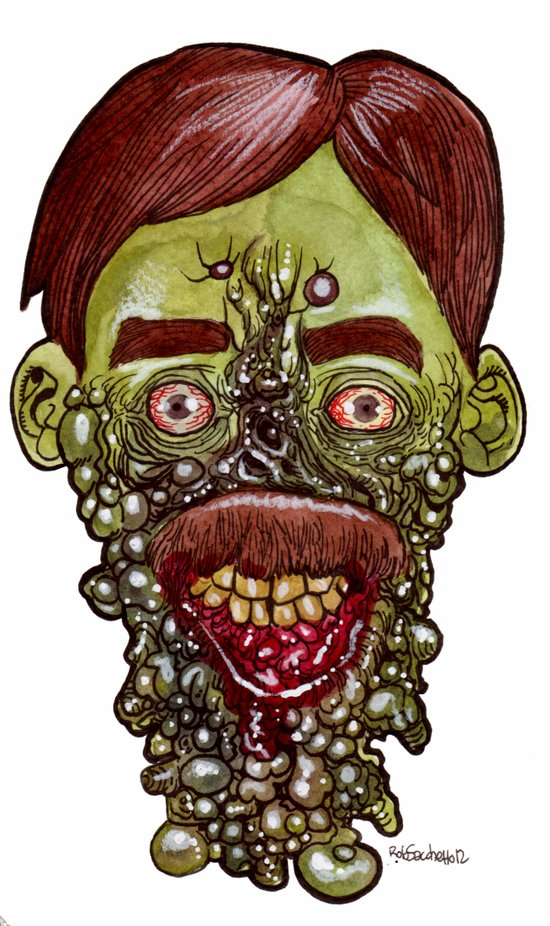 Heads of the Living Dead  Zombies: Gum Disease Zombie Art Print