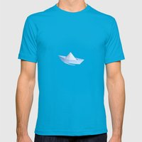 Little Paper Boat Mens Fitted Tee Teal SMALL