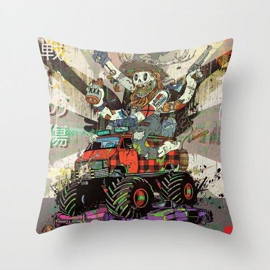 Battlescar Biggles Throw Pillow
