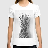 Black And White Pineappl… Womens Fitted Tee White SMALL