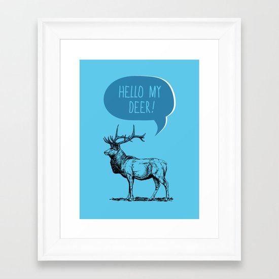 Deer Pun Framed Art Print