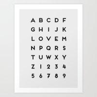 Letter Love - White Art Print
