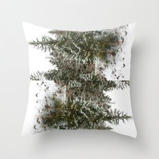 French Alps Trees Throw Pillow