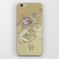 The lady and the wild cat. iPhone & iPod Skin