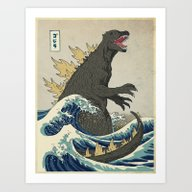 The Great Godzilla Off K… Art Print